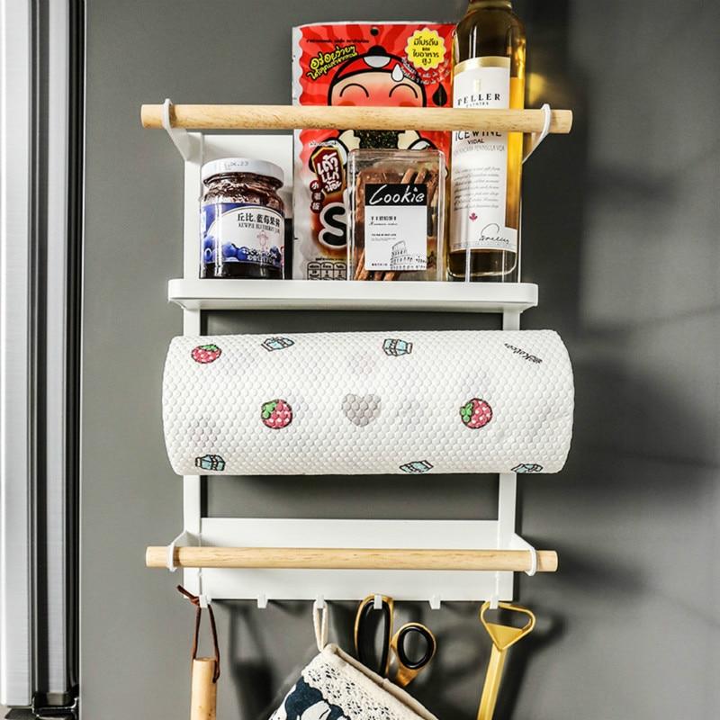 Creative Magnetic Adsorption Refrigerator Storage Holder Kitchen Paper Towel Shelf Rack Side Wall Hanger Organizer