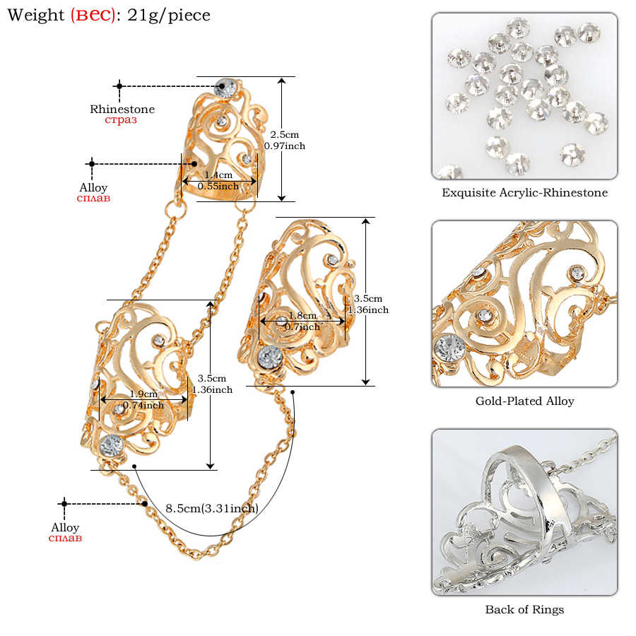 03f7b4d2afec3 SHEEGIOR Lovely Punk Gold Silver Long Rings for Women Men Hollow Leaf  Rhinestone 2 Fingers Chain Ring Femme Fashion Jewelry Gift