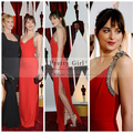 Dakota Johnson Oscar Vestido de Red Carpet 2016 Elegante Un Hombro Que Rebordea el Satén Rojo de Alta Hendidura de Noche Largo Vestidos de La Celebridad Barato
