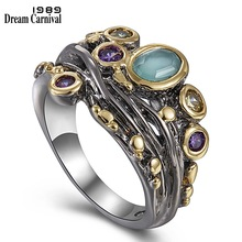 DreamCarnival 1989 Baroque Ring for Women Princess Crown Style Chic Zirconia Stone Jewelry Thanks Giving Party Must Have WA11646