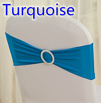 Turquoise colour on sale chair sash with Round buckles for chair covers spandex band lycra sash bow tie wedding decoration