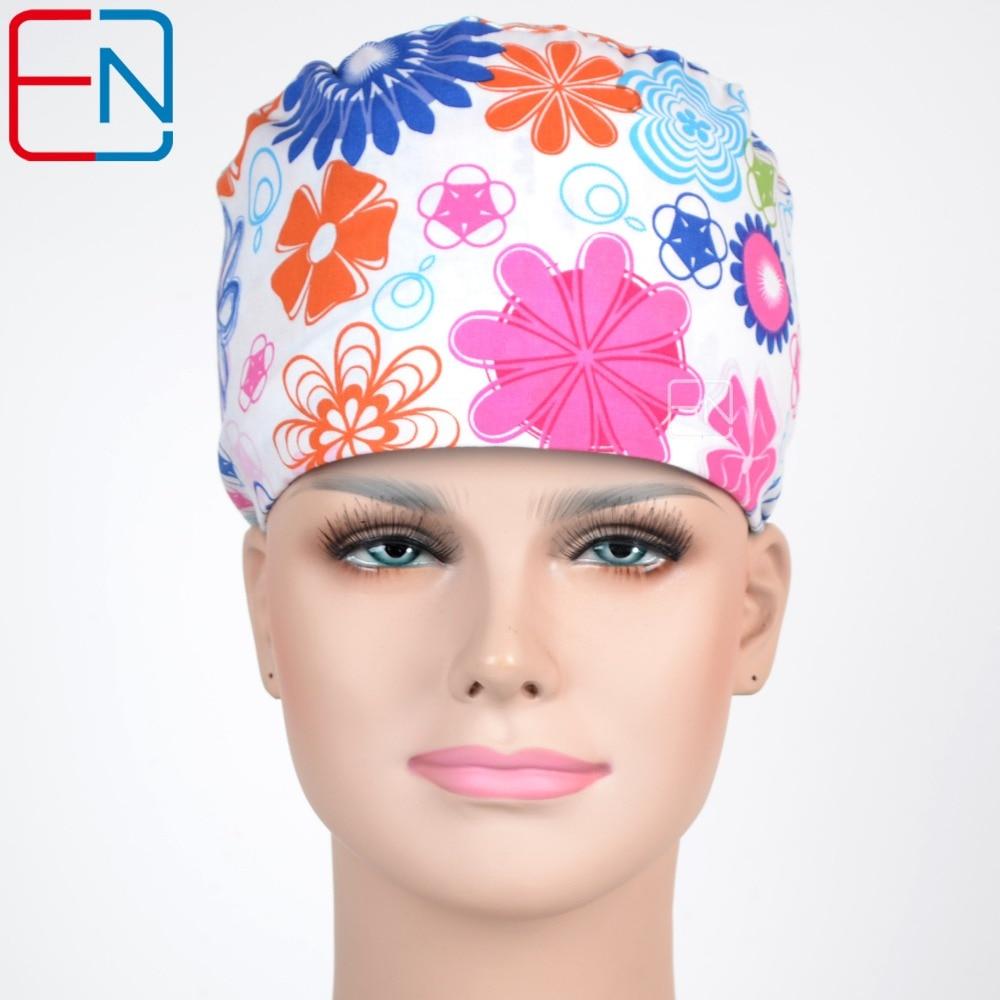 Hennar Brand Scrub Caps Top Quality Womens Medical Surgical Caps Masks Dentist Doctor Nurse Tieback Elastic Adjust Working Caps