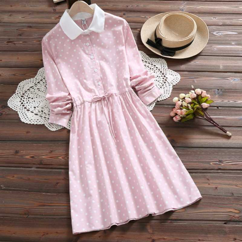 e7d646a46f3 2019 Mori Girl Spring Autumn Cute Women Dress Yellow Pink Polka Dot Lace Up  Vestido Long