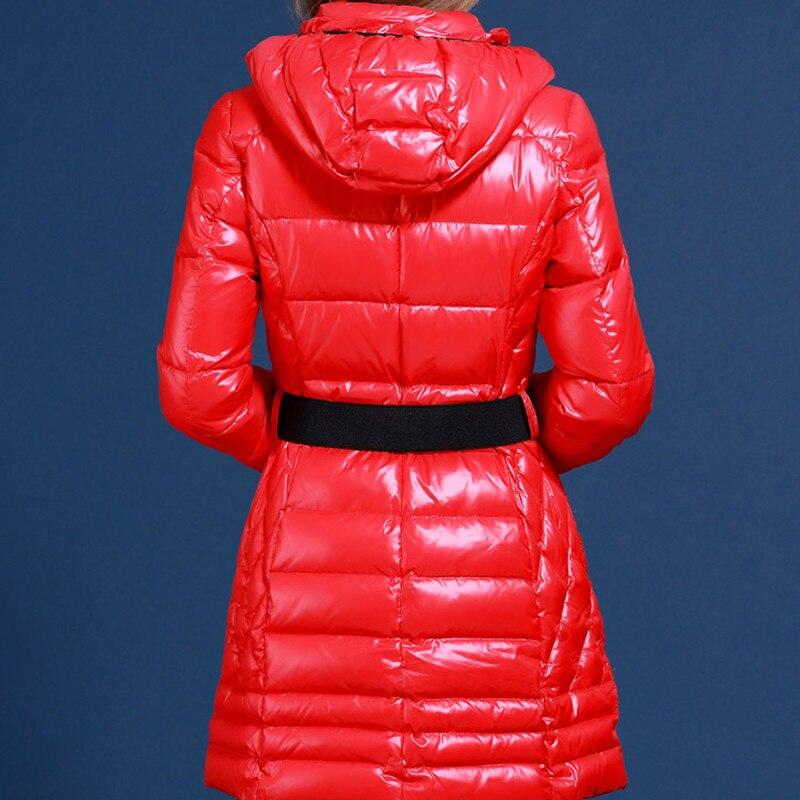 US $121.9  Winter ente daunenjacke frauen langen mantel parkas verdickung für Russland und Europa minus 20 grad warme jacke blau rot mäntel M542 in