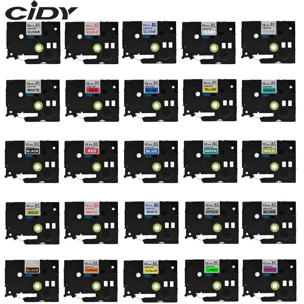 CIDY tze-231 многоцветная ламинированная tze 231 tze231 12 мм черная на белой ленте TZ-231 для принтера brother p-touch tze-131