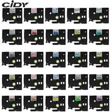 Label-Tape Printer Tze-231 Black PT-E500W 12mm CIDY Laminated White on for P-Touch Pt-e500w/Pt-e100b/Tze-131