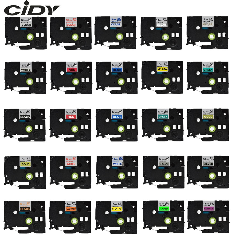 Cidy tze-231 multicolorido compatível laminado tze 231 tze231 12mm preto na fita branca tz-231 para o irmão p-touch impressora tze-131