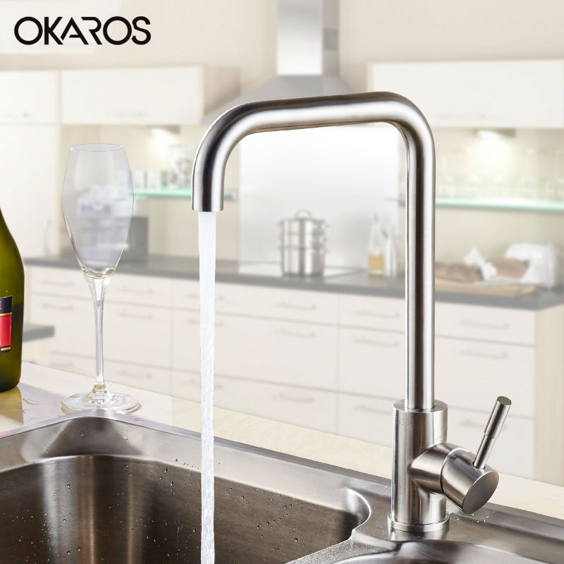 OKAROS Kitchen Faucet SUS304 Stainless Steel Nickle Brushed Single Handle Hot&Cold Water Vessel Sink Tap Mixer Torneira Cozinha okaros nickel brushed 304 stainless steel kitchen sink faucet deck mounted basin tap cold