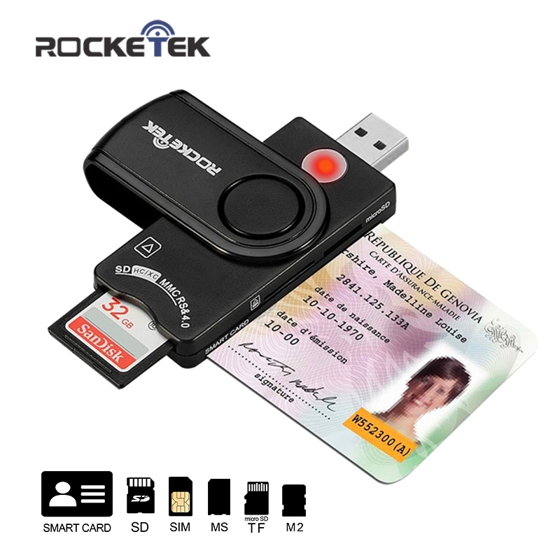 Rocketek USB 2.0 Lettore di Smart Card DOD Militare CAC Accesso Comune/carta di Credito/ID/SD/Micro SD/TF/MS/M2/sim card adapter
