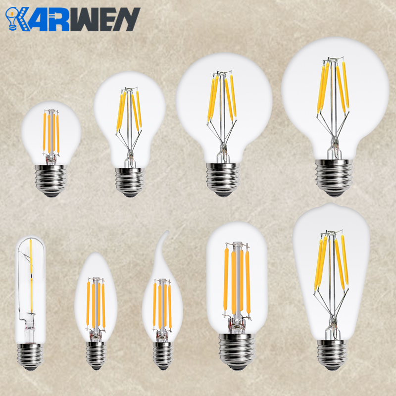 KARWEN LED Edison Bulb E14 E27 Filament Candle Light 220v 360 Degree Ampoule Led Lamp Replace Incandescent Energy Saving