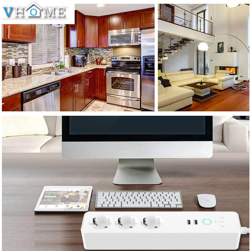 Prise intelligente prise Eu Wifi Smart multiprise Usb prise Eu 16A 4000 W vie intelligente App Google home Alexa commande vocale pour la maison - 6
