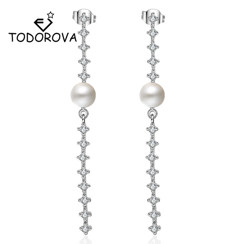 Todorova Elegant Big Crystal Women Earrings Shiny Cubic Zircon Simulated Pearl Boho Long Drop New Year Gifts