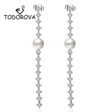 Todorova Elegant Big Crystal Women Earrings Shiny Cubic Zircon Simulated Pearl Boho Long Drop New Year Gifts