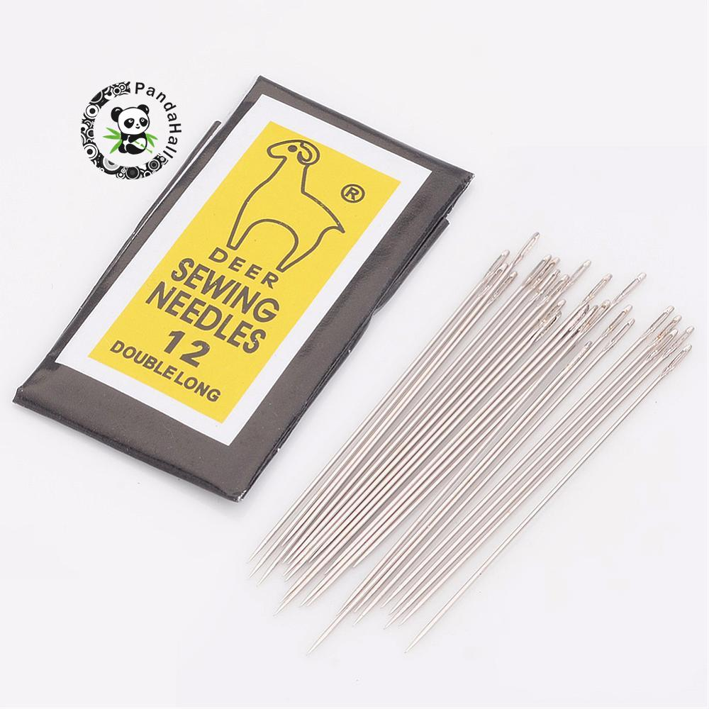 Iron Beading Needles, Platinum, 0.45mm Thick, 40mm Long, Hole: 0.3mm, 25pcs/bag