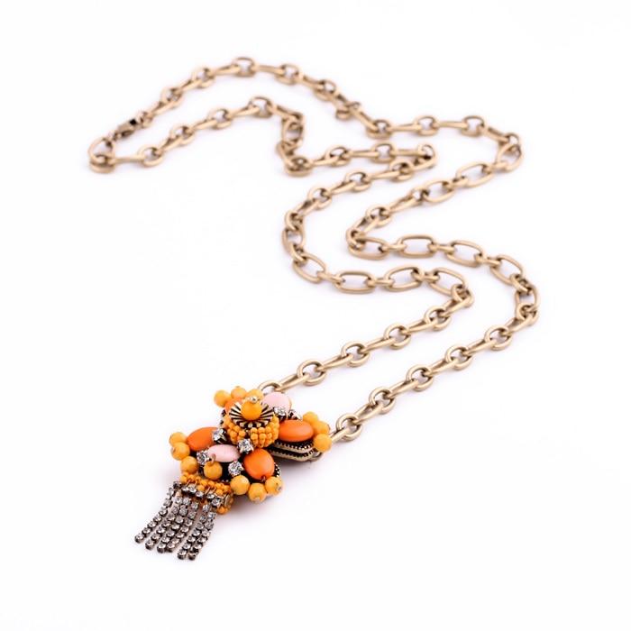 웃 유crystal Tassel Go Boldly Brilliant Daisy Necklace Gold Color