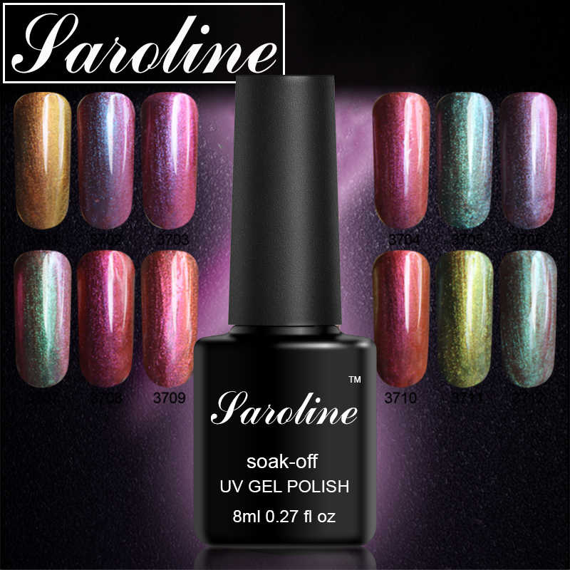 Saroline 12 Warna Chameleon Uv Gel Polish 8 Ml Semi Permanen Rendam Off UV LED Nail Polish Shimmer Kuku Gel lak Seni