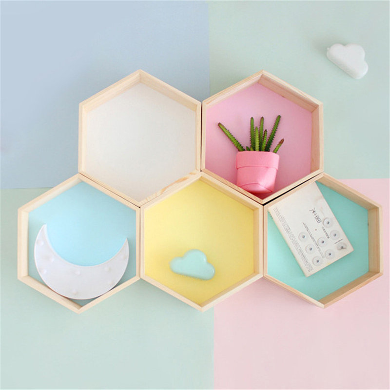 2PCS Set Nordic Hexagonal Shelf Organizer Pink Wooden Shelves Wall Rack Hanger Kids Room Decoration 2018