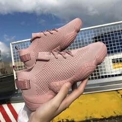 Женские сетчатые весенние кроссовки; женская обувь со шнуровкой; эластичная ткань; Платформа; плоская подошва; Вулканизированная