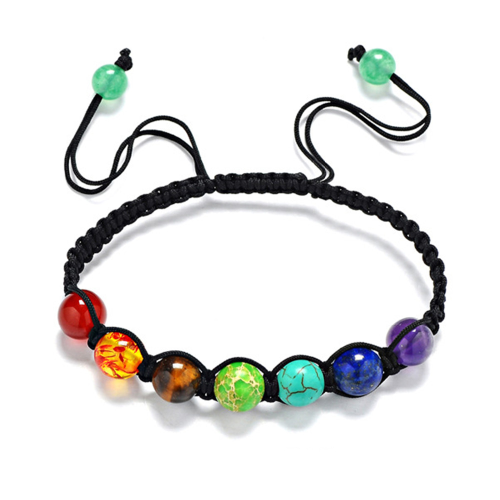 SHUANGR New 2017 Seven Colors Healing Balance Beads Nature Stone Bracelets with 8mm Rainbow Stone Ethnic Jewelry