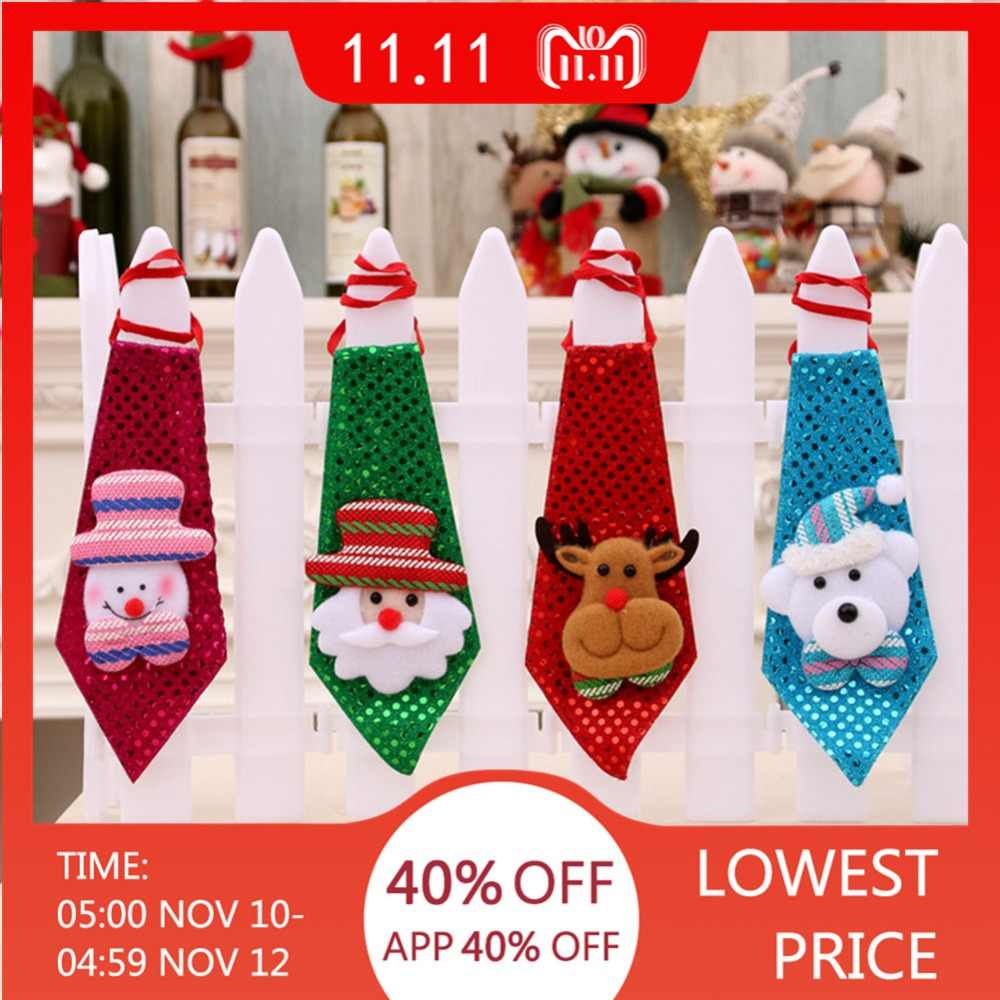 Hot 1pc Christmas Tie Sequins Santa Claus Snowman Reindeer Bear Christmas Decoration For Home Xmas Decor Kids Toy Ornaments Gift