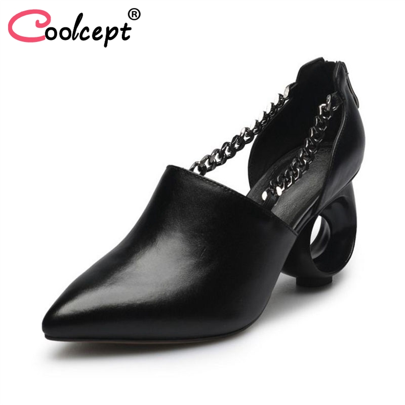цены Coolcept Fashion Women Real Leather High Heel Sandals Pointed Toe Zipper Sandals Summer Party Shoes Women Footwear Size 34-39