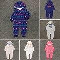 Alta qualidade baby boy jumpsuit quente coral fleece criança infantil primavera outwear Bonito macacão de bebê meninas