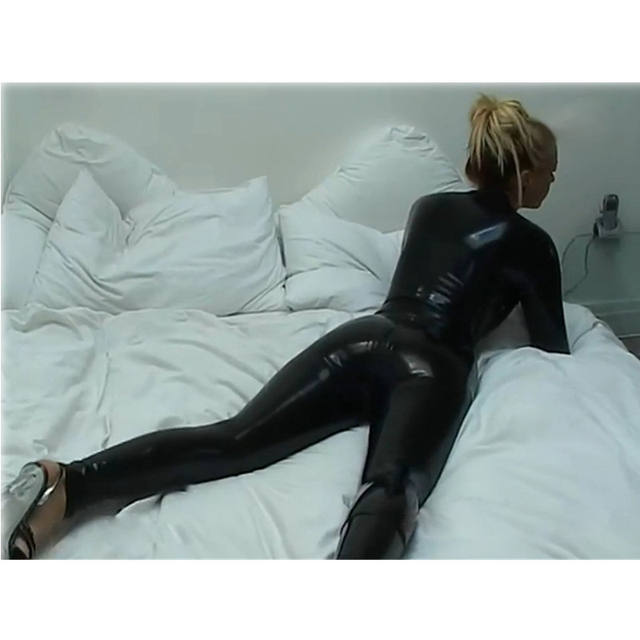 Catsuit with Zipper Black PU Leather