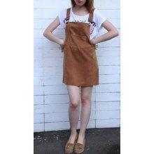 Korean Fashion Autumn 2016 Women Elegant Pockets Suspender Skirt Corduroy Sleeveless Overalls Skirts