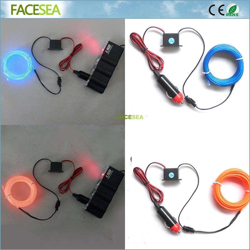 5M DC Powered Car plugs LED light 10 Colors EL Wire Tube Rope Flexible Neon Cold Light Car Decoration