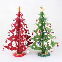 Wooden Christmas Tree Ornaments Decoration Xmas Gift Table Desk Wood Chritsmas Tree Mini Home Decor New