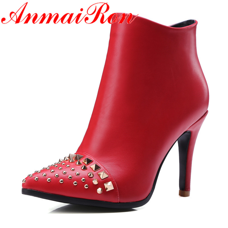 ANMAIRON Fashion Boots High Heels Pointed Toe Shoes Woman Autumn Black Shoes Sexy Red Zippers Ankle Boots Women Large Size 34-43 siketu 2017 free shipping spring and autumn women shoes fashion sex high heels shoes red wedding shoes pumps g107