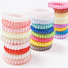 5pcs Women Hairbands Candy Color Telephone Wire Elastic Hair Rings Headwear Ponytail Holder Ties Ropes Rubber