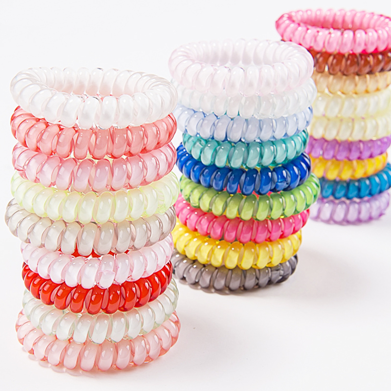 5pcs font b Women b font Hairbands Candy Color Telephone Wire Elastic Hair Rings Headwear Ponytail