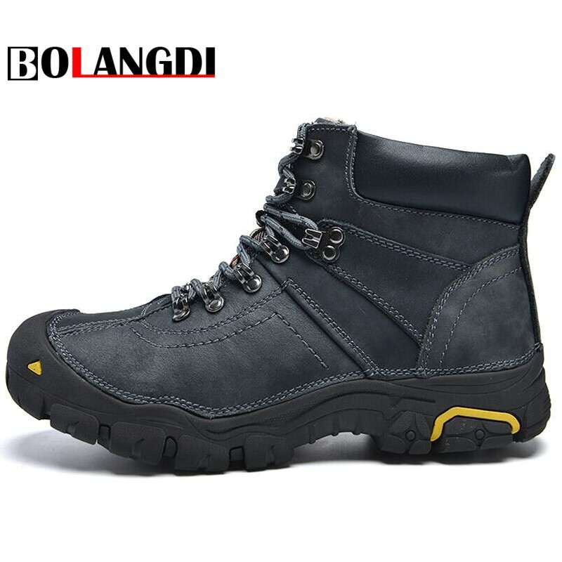 Bolangdi Winter Plush Warm Genuine Leather Outdoor Sport Tactical Men font b Hiking b font Shoes