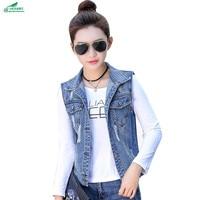 Spring new Korean cowboy sleeveless short Outerwear women fashion large size horse clip vest coat female autumn OKXGNZ QQ1040