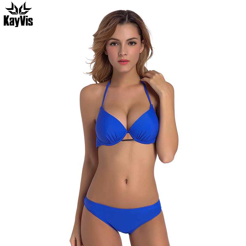 886c81fff7 KayVis Women Bikini Blue Sexy Retro High Neck Swimsuit for Girls Solid Vintage  Female Swimwear Bathing