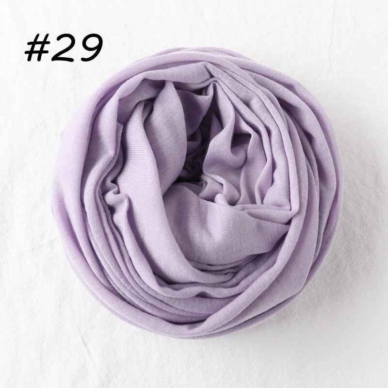 Один кусок хиджаб шарф Макси шали шарфы женские мусульманские хиджабы мусульманская леди палантин splid однотонное Джерси хиджаб 70x160 см - Цвет: 29 mavue mist