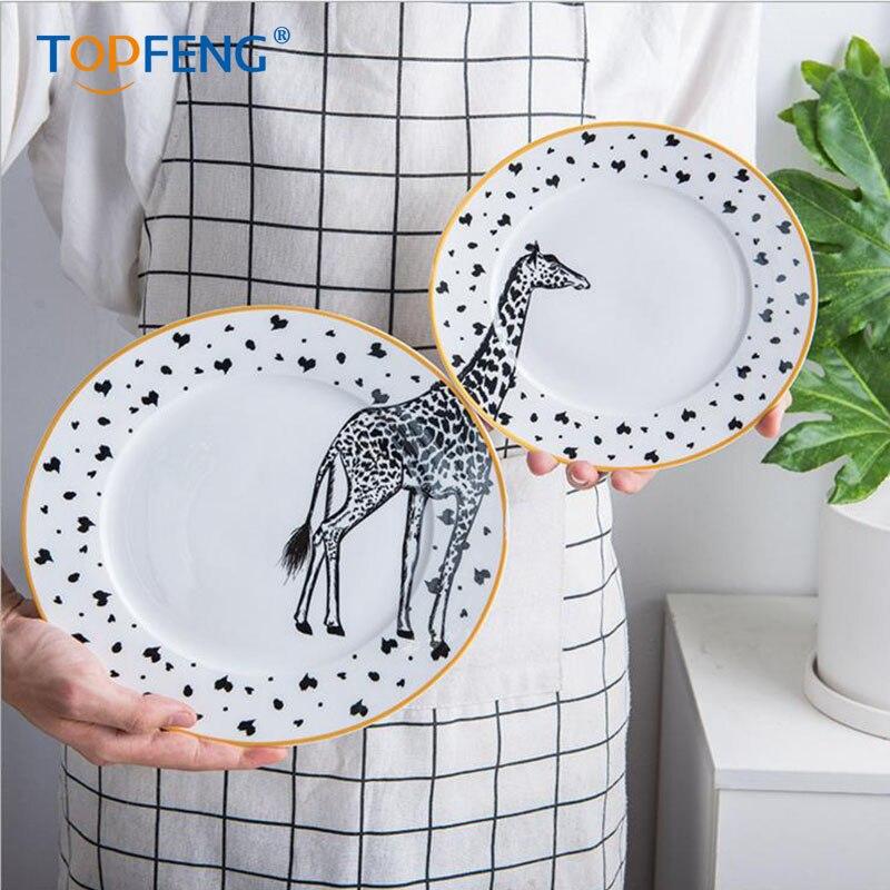 TOPFENG assiette en porcelaine conception animale | Service de table, assiette à salade en céramique zèbre girafe antilope kangourou (2 pièces 8/10 pouces)