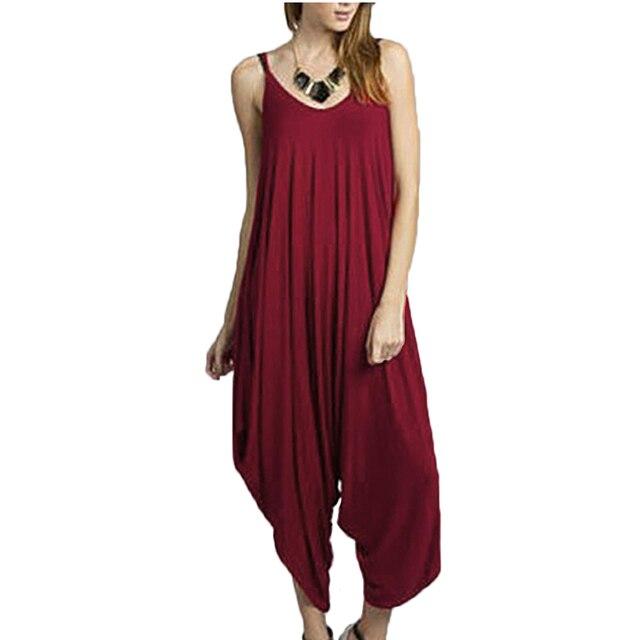 c75119bbbcb Sexy Women s Spaghetti Strap Plus Size Romper Baggy Harem Jumpsuit Playsuit  Casual Ruffles Lantern Pants Summer Overalls 3XL
