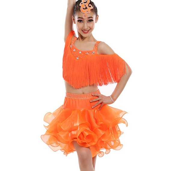 customize girl orange Latin dance dress professional woman split tassel sequined Rumba Samba tango dance competition dress
