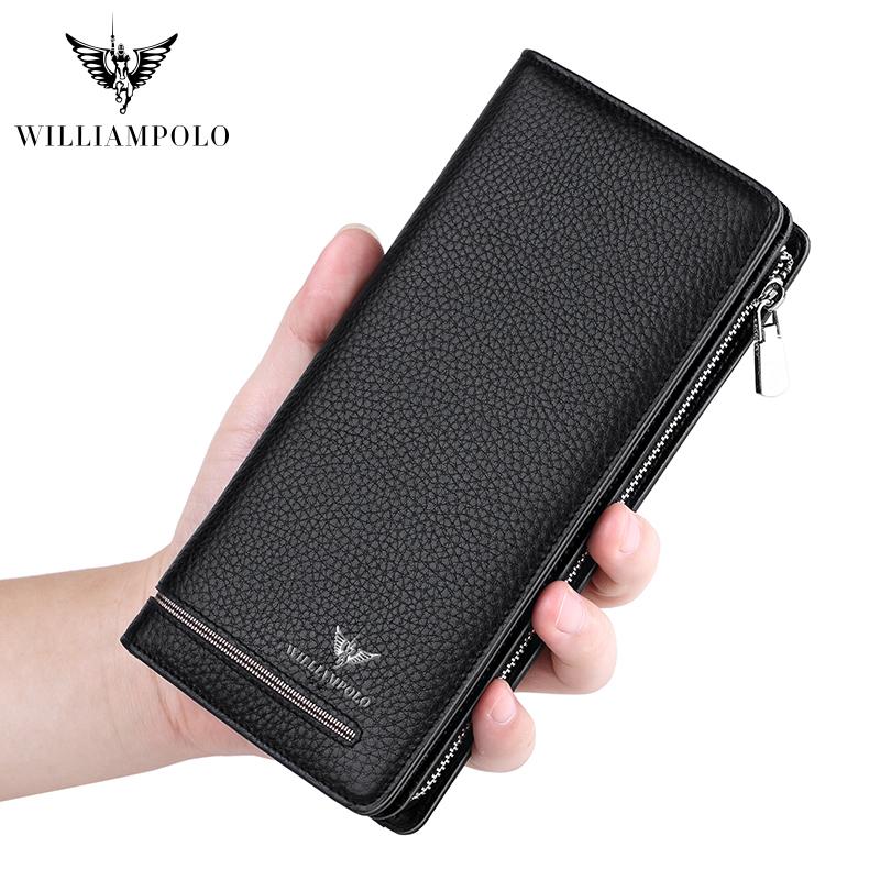 2019 wallet male genuine Leather Luxury Brand Men Zipper Wallets Long Men Purse Clutch Business Wallet WILLIAMPOLO 219