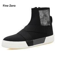 Fine Zero Male Autumn Winter Zippers High Top Shoes Men Casual Walking Flats Shoes Ankle Platform