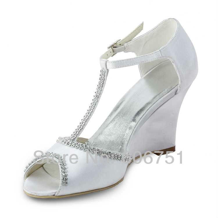 3.5 Inch White Wedge Heels Satin High Heel Bride Wedding
