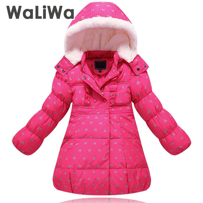 Winter Girl Down Jacket Thick Warm Coat For Girls Hooded Long Duck Down Jacket Dot Children's Winter Clothing 2 4 6 8 Years блуза