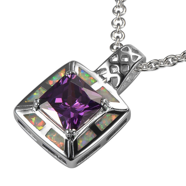 White Fire Opal Amethyst 925 Sterling Silver Beautiful Attractive Jewelry Pendant P213