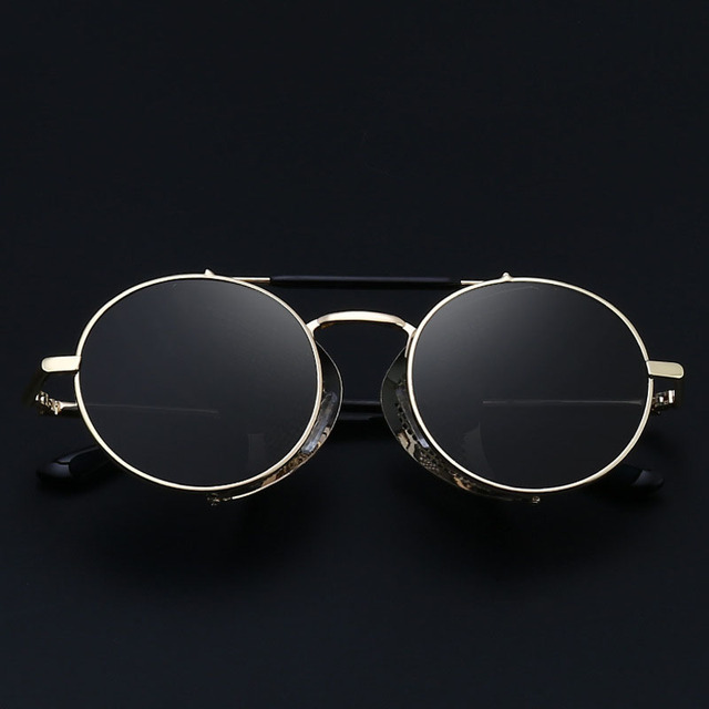 Luxury Protective Round Shaped Mirror Steampunk Sunglasses