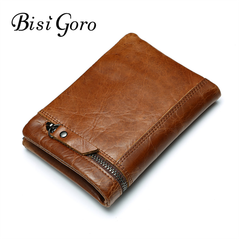 Bisi Goro 2018 Crazy Horse Genuine Leather Men Wallet Vintage Business Casual Coin Purses With Zipper Fashion Men Short Wallet genuine cow leather vintage men wallet fashion zipper