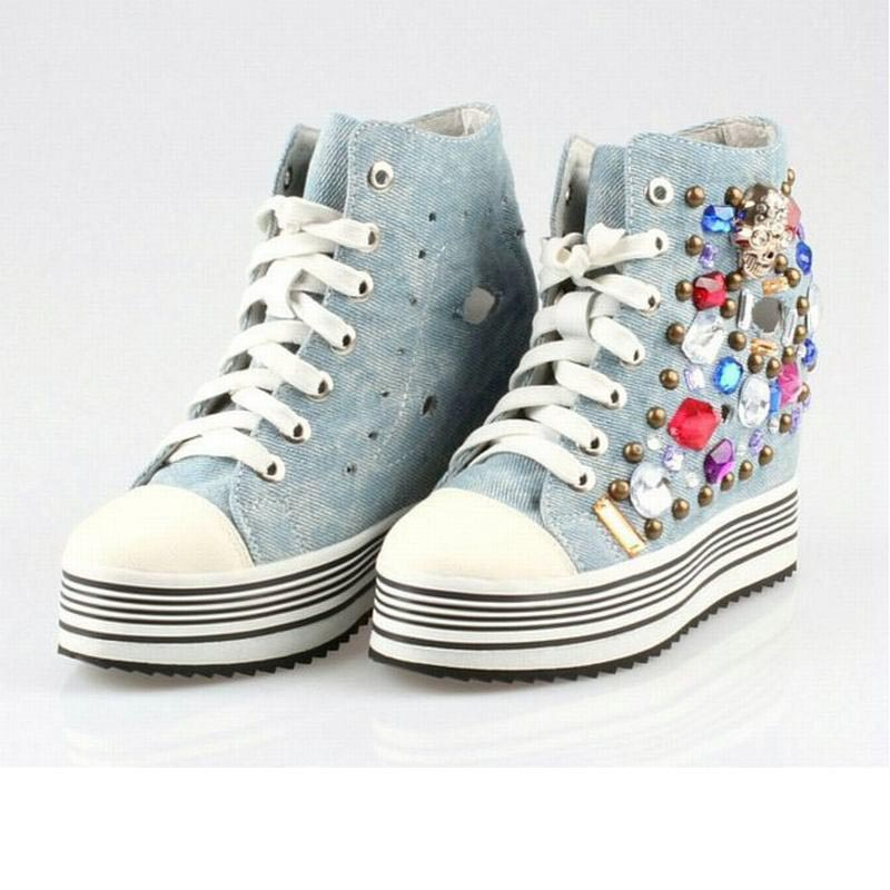 new punk rome skull high top lace up denim canvas rivets platform wedges casual shoes breathable cut-outs rhinestone work shoesnew punk rome skull high top lace up denim canvas rivets platform wedges casual shoes breathable cut-outs rhinestone work shoes