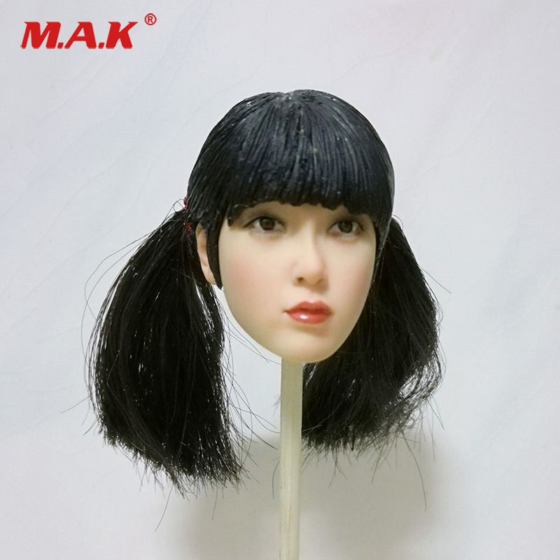 1/6  Republic of China Bangs Female Head Carved PVC Head Model Black Hair 12 Action Figure Collection Doll Toys Gift 1 6 headplay figure head model brown long hair female head sculpt 12 action figure collection doll toys gift