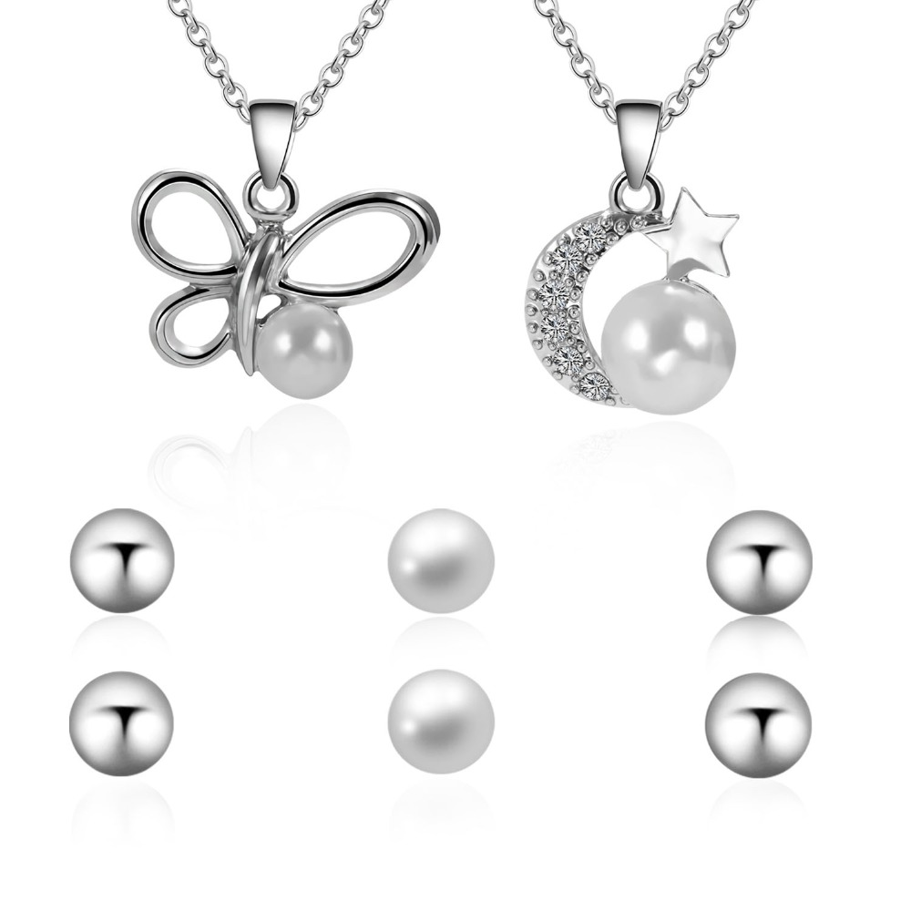 Fashion Jewelry Set for Women Butterfly Moon Necklace Stud Earrings Anniversary Party